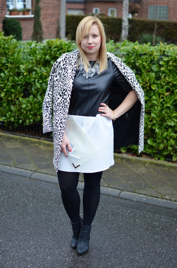 Black White Leather Dress Leopard Transparency Outfit (5)