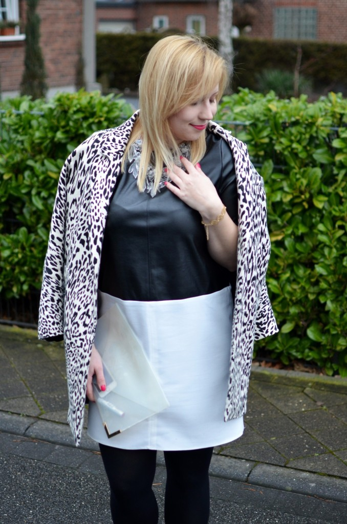 Black White Leather Dress Leopard Transparency Outfit (6)