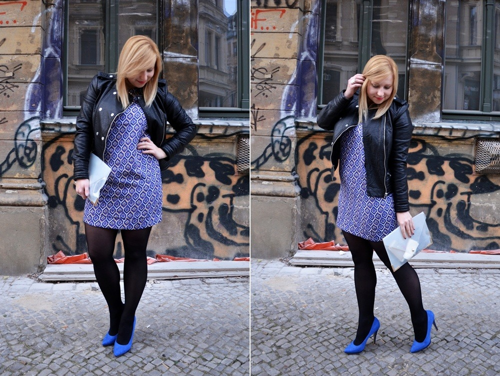 Rhombus-Dress-Outfit-Leather-Jacket-Blue-Pumps