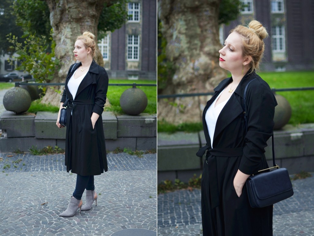 Outfit-Puppenzirkus-Editors-Style-Basics-White-V-Neck-Shirt-Business-Look-Office-Trenchcoat