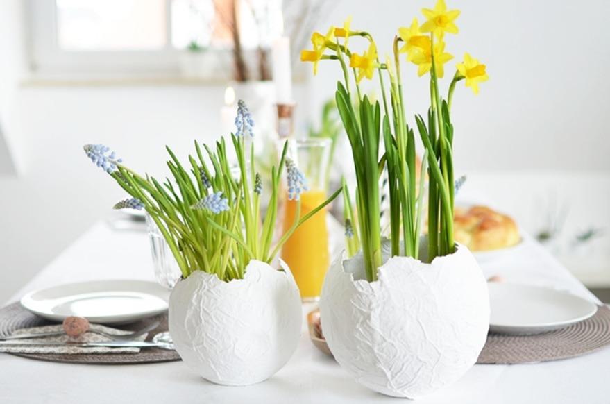 Eierschalen Blumentöpfe aus Pappmaché
