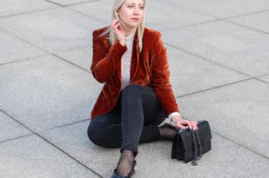 Outfit | Samt Blazer in Kupferrot