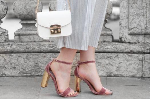 Metallic Plissee Skirt & Velvet Heels