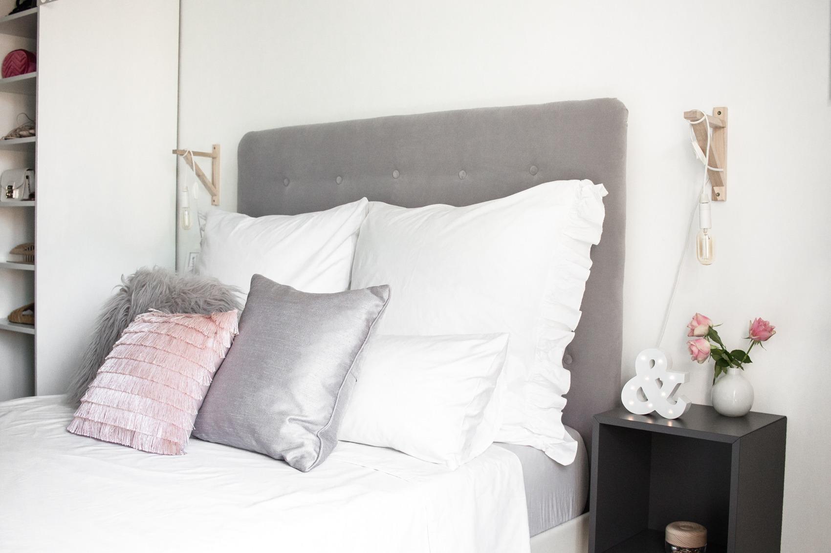 Diy Kopfteil Bett Selfmade Grau Samt Chesterfield Look 21 Puppenzirkus