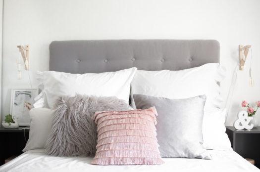DIY Kopfteil für's Bett aus Samt im Chesterfield Look