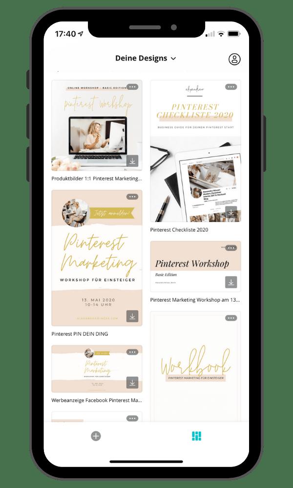 iPhone-Canva-Bildschirm-Pinterest