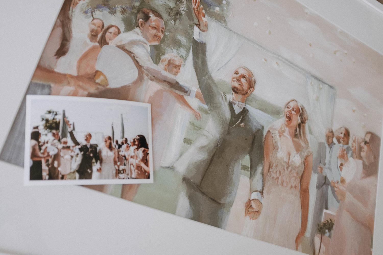 Hochzeitsgemälde mit Vorlage des Hochzeitsfotos