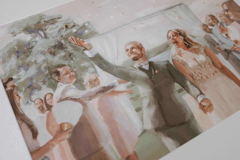 Details von einem Hochzeitsgemälde für das Brautpaar