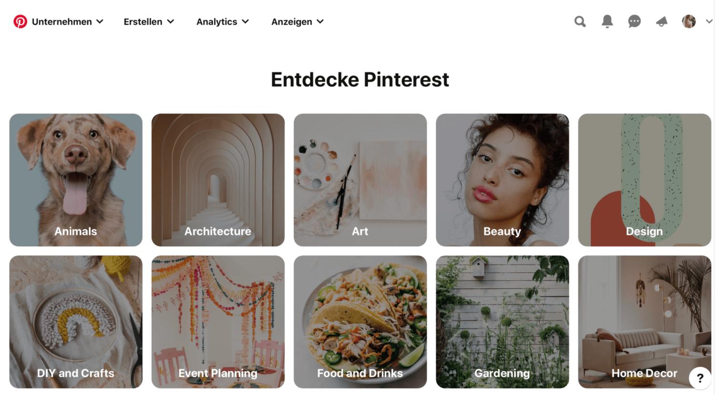Pinterest Marketing: 32 Kategorien bei Pinterest